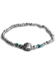 【※ポイント5倍※】Sunku(サンク)Star Concho Beads Bracelet / [SK-207] スター ビーズ ブレスレット ターコイズ コンチョ シルバー グリーン トルコ石 天然石 宝石 銀 緑 メンズ レディース【送料無