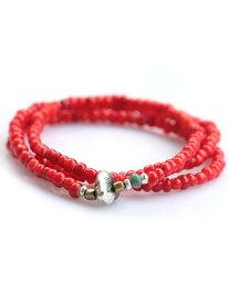Sunku(サンク)ビーズネックレス&ブレスレット (Red) / [SK-002] ホワイトハーツ ターコイズ シルバー アンティークゴールド ブレス メンズ レディース【送料無料】