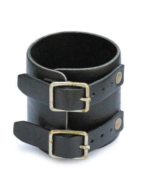 gbb custom leather(gbb カスタム レザー)JD Cuff Bracelet simple ver. (Black) / カフ ブレスレット レザー ブレス ブラック バックル ベルト 革 ヴィンテージ ゴールド ブラス 真鍮 黒 金 メンズ レディース【送料無料】