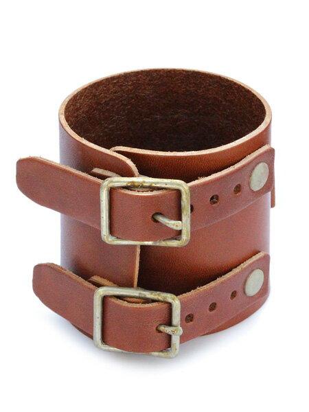 gbb custom leather(gbb カスタム レザー)JD Cuff Bracelet simple ver. (ヴィンテージブラウン) / カフ ブレスレット レザー ブレス バックル ベルト 革 ゴールド ブラス 真鍮 茶 金 メンズ レディース【送料無料】