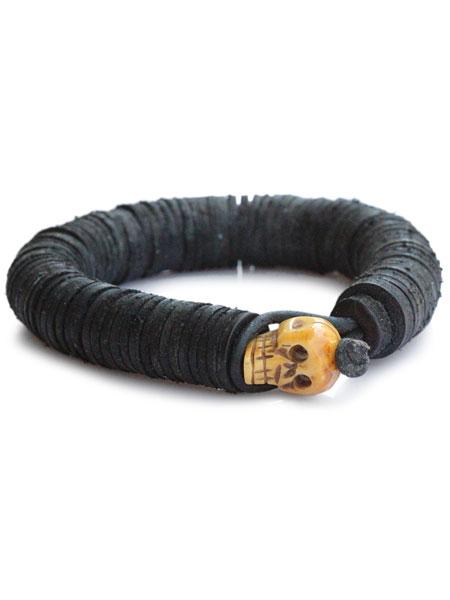 gbb custom leather(gbb カスタム レザー)【Leather Beaded Skull Bangle (Black) / レザー ビート スカル バングル (ブラック)】[正規品](カフブレスレット/ビーズ/ドクロ/髑髏/革/黒/ギフト/ユニセックス/メンズ/レディース)【送料無料】
