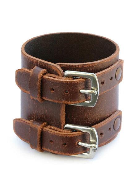 gbb custom leather(gbb カスタム レザー)【Rosie's Wrist Brace (ブラウン / カウハイド) ロージーズ リスト ブレスレット】[正規品](レザー/バックル/ベルト/ステンレス/シルバー/銀/革/ブラウン/茶色/ユニセックス/メンズ/レディース)【送料無料】