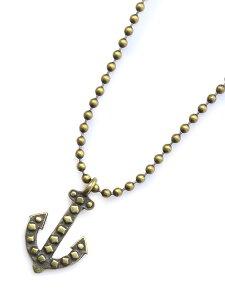 【※ポイント5倍※】GILES & BROTHER(ジャイルス・アンド・ブラザー)Vintage anchor ball chain necklace ヴィンテージ アンカーボールチェーン ネックレス / ペンダント アンティークゴールド ブラス