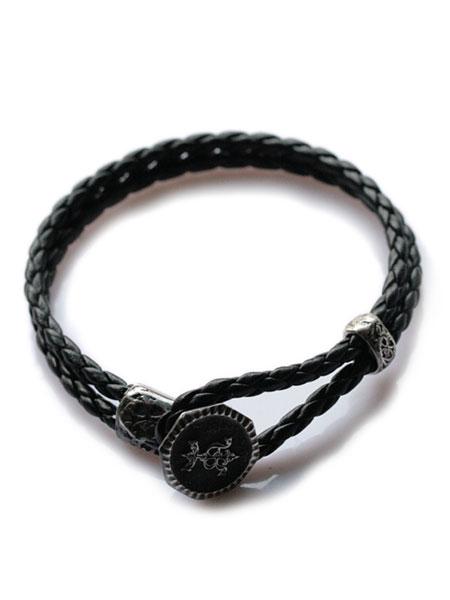 HARIM(ハリム)HARIM signet Button Leather Bracelet レザーブレスレット / [HRA020RE] レザー ブレス シルバー メンズ レディース【送料無料】