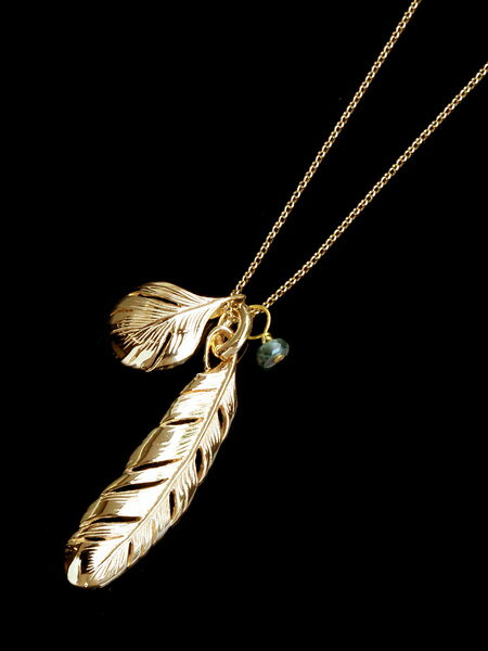 HARIM(ハリム)New Leaf Feather VERY SHINE K10 / [HRP080V K10] フェザー ネックレス ゴールド ペンダント メンズ レディース【送料無料】