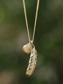 【※ポイント5倍※】HARIM(ハリム)New Leef feather VERY SHINE K18coating / [HRP080VG] フェザー ネックレス ペンダント ゴールド メンズ レディース【送料無料】