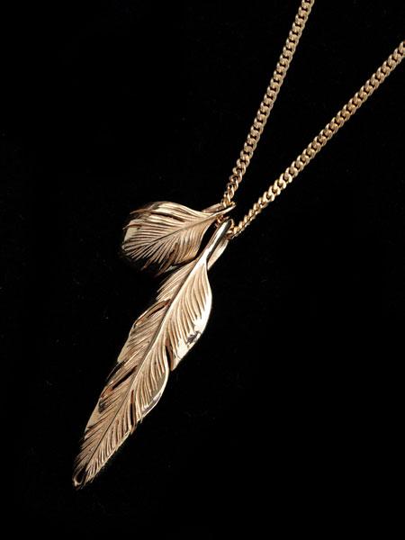 HARIM(ハリム)Slender feathers Very shine Necklace GP / [HRP104GP] ネックレス フェザー ペンダント ゴールド メンズ レディース【送料無料】
