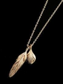 HARIM(ハリム)Slender feathers Half Very shine Necklace GP / [HRP105GP] ネックレス フェザー ペンダント ペンダント ゴールド メンズ レディース【送料無料】