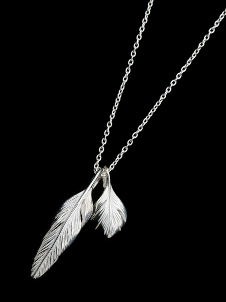 HARIM(ハリム)Slender feathers Half Very shine Necklace WH / [HRP105WH] フェザー ネックレス ペンダント シルバー メンズ レディース【送料無料】