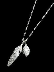 【※ポイント5倍※】HARIM(ハリム)Slender feathers Half Very shine Necklace WH / [HRP105WH] フェザー ネックレス ペンダント シルバー メンズ レディース【送料無料】