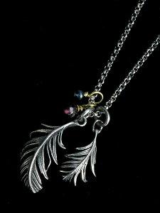 【※ポイント5倍※】HARIM(ハリム)Double Soft Feather & Jems ネックレス / [HRP113SV] フェザー ペンダント シルバー メンズ レディース【送料無料】