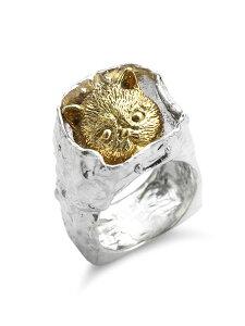【※ポイント5倍※】HOASHI YUSUKE(ホアシユウスケ)【ダダ 紙袋に入った猫のリング (シルバー × ゴールド)】[正規品](指輪/ネコ/キャット/スクエア/四角/銀/925/ギフト/プレゼント/レディース