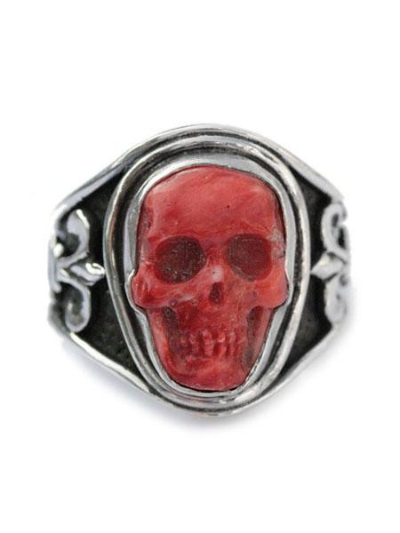 Lee Downey(リーダウニー)Sculpted Skull Ring - Spiney Oyster / スカル リング 指輪 スパイニーオイスター シェル 貝殻 ドクロ シルバー メンズ レディース【送料無料】