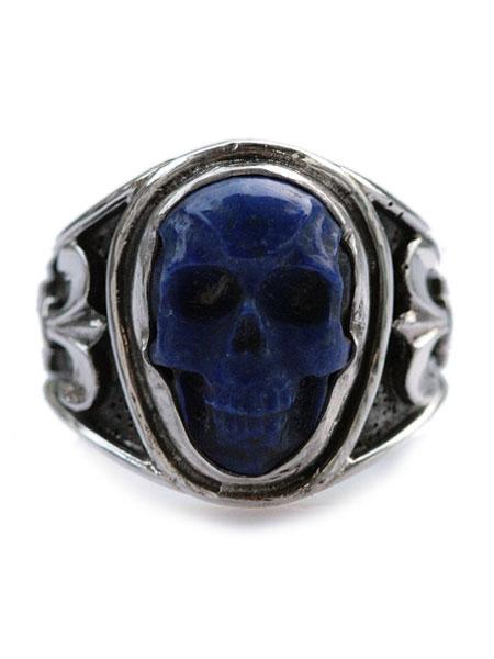 Lee Downey(リーダウニー)Sculpted Skull Ring - Lapis lazuli / スカル リング 指輪 宝石 ラピスラズリ ドクロ シルバー メンズ レディース【送料無料】