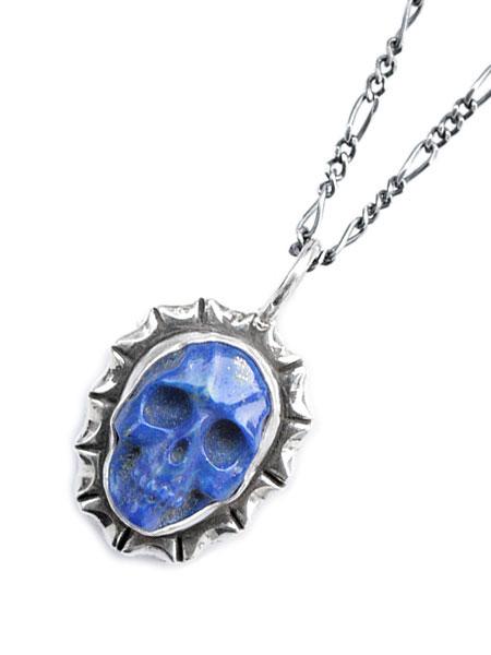 Lee Downey(リーダウニー)Skull Pendant (Lapis lazuli) / スカル ネックレス ペンダント ラピスラズリ 宝石 シルバー ドクロ メンズ レディース【送料無料】