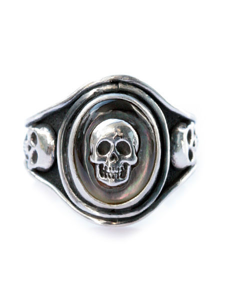 Lee Downey(リーダウニー)Cast Skull Ring (Black Shell) / スカル リング 指輪 シェル 貝殻 宝石 ドクロ シルバー メンズ レディース【送料無料】