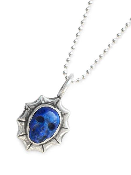 Lee Downey(リーダウニー)Tiny Skull Necklace (Large Waves) - Lapis lazuli / スカル ネックレス ペンダント ラピスラズリ 宝石 シルバー ドクロ メンズ レディース【送料無料】