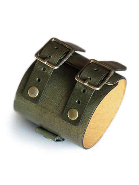 gbb custom leather(gbb カスタム レザー)JD Cuff Bracelet JD カフ ブレスレット (グリーン) / レザー ブレス バックル ベルト 革 緑 ブラス ゴールド 真鍮 メンズ レディース【送料無料】