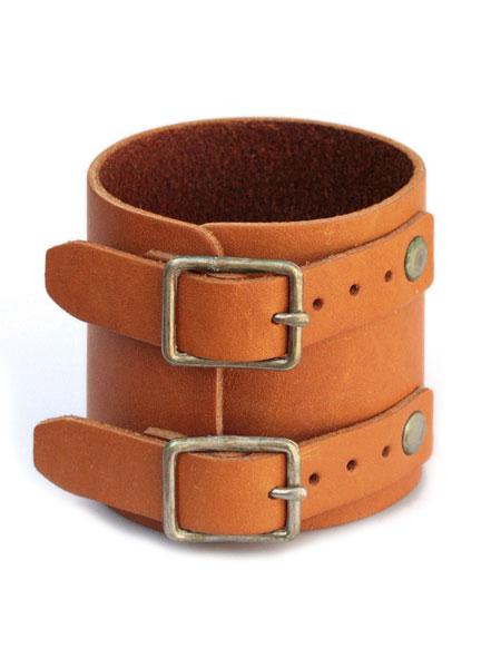 gbb custom leather(gbb カスタム レザー)JD Cuff Bracelet (simple ver.) JD カフ ブレスレット / レザー ブレス バックル ベルト 革 ブラウン 茶色 メンズ レディース【送料無料】