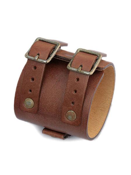 gbb custom leather(gbb カスタム レザー)JD Cuff Bracelet JD カフ ブレスレット (ヴィンテージブラウン) / レザー 革 ブラス ゴールド 真鍮 ブレス 茶色 バックル ベルト メンズ レディース【送料無料】