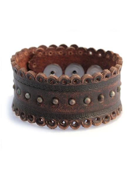 gbb custom leather(gbb カスタム レザー)Cuff 1866 / レザー ブレス カフ ブレスレット バックル 革 真鍮 ブラウン 茶色 ベルト メンズ レディース【送料無料】