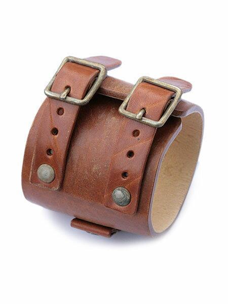 gbb custom leather(gbb カスタム レザー)JD Cuff Bracelet (Distressed) / レザー ブレス カフ ブレスレット バックル ベルト 革 ヴィンテージブラウン 茶色 ブラス ゴールド 真鍮 メンズ レディース【送料無料】