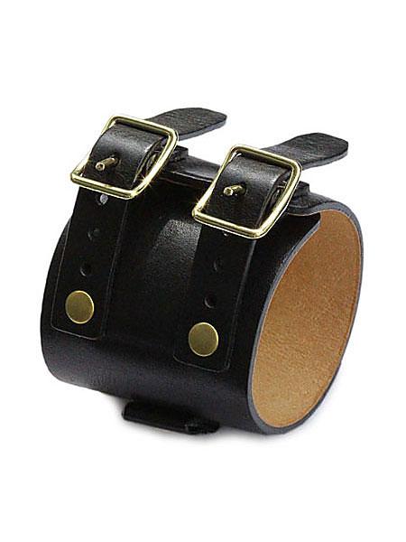 gbb custom leather(gbb カスタム レザー)JD Cuff Bracelet JD カフ ブレスレット (Black × Brass) / レザー ブレス 革 ブラック ゴールド 真鍮 ブラス バックル ベルト メンズ レディース【送料無料】