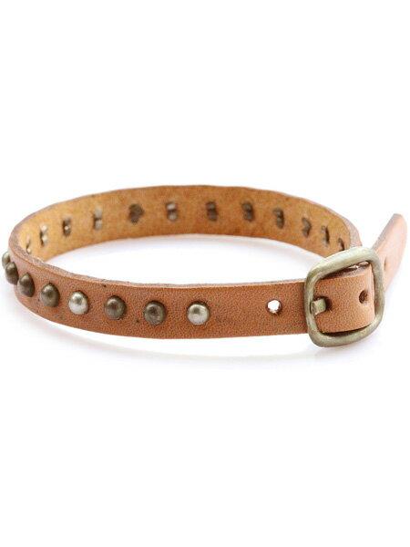 gbb custom leather(gbb カスタム レザー)Band 22 (Natural × Nickel) / レザー 革 ベージュ ナチュラル シルバー ブレス カフ ブレスレット スタッズ バックル ベルト 細身 メンズ レディース