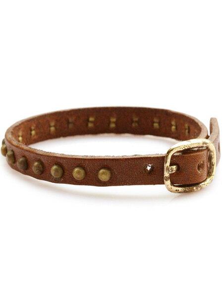 gbb custom leather(gbb カスタム レザー)Band 22 (Brown × Brass) / レザー ブレス カフ ブレスレット スタッズ バックル ベルト 革 ブラウン 茶色 ブラス ゴールド 真鍮 細身 メンズ レディース