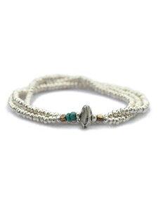 【※ポイント5倍※】SunKu(サンク・39)Silver Beads Necklace & Bracelet / [SK-006] シルバービーズネックレス ブレスレット ペンダント ターコイズ 緑 グリーン 銀 天然石 宝石 メンズ レディース【送