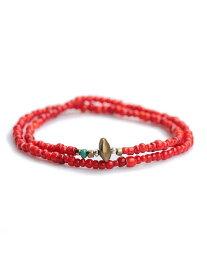 SunKu(サンク・39)ビーズ アンクレット & ネックレス (レッド) / [SK-022] シルバー ペンダント ホワイトハーツ ブラス ゴールド ターコイズ 真鍮 赤 銀 金 天然石 宝石 メンズ レディース