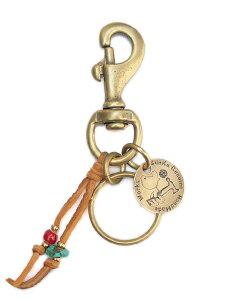 【※ポイント5倍※】SunKu(サンク・39)Key Ring (ブラウン) / [SK-048_Brown] キーリング キーホルダー キーチェーン ブラス ゴールド レザー ターコイズ グリーン 緑 革 真鍮 金 茶 天然石 宝石 メン