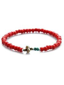 SunKu(サンク・39)White Heart Beads Anklet ホワイトハート ビーズ アンクレット (L Beads) / [SK-077] レッド 赤 シルバー ブラス ゴールド ターコイズ 真鍮 天然石 宝石 メンズ レディース