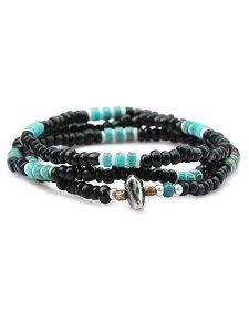 【※ポイント5倍※】SunKu(サンク・39)Antique Beads Necklace / [LTD-028] アンティークビーズネックレス ブラック 3連ブレスレット 2連アンクレット ペンダント シルバー ターコイズ グリーン 緑 銀