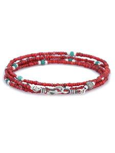 【※ポイント5倍※】SunKu(サンク・39)Small Beads Long Necklace (レッド×ホワイト×ターコイズ) / [SK-107] スモールビーズロングネックレス 4連ラップブレスレット ペンダント シルバー グリーン