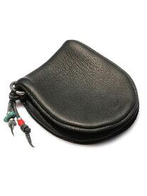 SunKu(サンク・39)Deer Leather Coin Purse Black ディアレザーコインパース ブラック / [SK-133-BLK] 鹿革 小銭入れ 財布 ウォレット ディアスキン ターコイズ グリーン 緑 銀 天然石 宝石 メンズ レディース