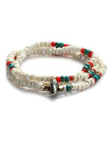 【※ポイント5倍※】SunKu(サンク・39)Antique Beads Mix 3 Roll Necklace & Bracelet アンティークビーズミックス 3連 ネックレス & ブレスレット / [SK-148] ホワイト ペンダント シルバー ブラス ゴールド