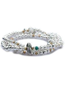 【※ポイント5倍※】SunKu(サンク・39)Mix Silver Beads ネックレス & ブレスレット / [SK-054] ミックスシルバービーズ 3連ラップ ペンダント ブラス ゴールド ターコイズ グリーン 金 緑 銀 真鍮 天