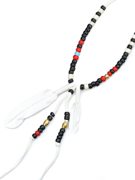 ROOSTERKING & CO.(ルースターキング&カンパニー)Leather Feather &Beads; Necklace (white) / レザーフェザービーズネックレス ホワイト ペンダント アンティーク ネイティブ インディアン レッド ライトブルー ブラック ブラス ゴールド メンズ【送料無料】