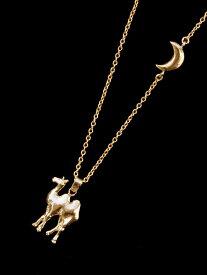 Tiny tail(タイニーテイル)月の砂漠 ネックレス / ムーン ロングペンダント らくだ ラクダ ゴールド ブラス アニマル オリエンタル 動物 金 真鍮 メンズ レディース