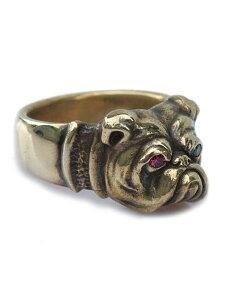 【※ポイント5倍※】PEANUTS&CO.(ピーナッツ&カンパニー)Bull Dog Ring (Brass) / ブルドック リング ブラス アンティークゴールド ルビー エメラルド グリーン レッド ピンク 天然 宝石 指輪 緑 赤