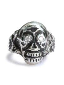 """【※ポイント5倍※】PEANUTS&CO.(ピーナッツ&カンパニー)K18GOLD Skull Poison Ring """"Diamond"""" (White) スカル ポイズン リング """"ダイヤモンド"""" (ホワイト) / クロスボーン リーパー ピンキー ドクロ クリアー 骨 指輪 死神 宝石 白 透明 メンズ レディース【送料無料】"""