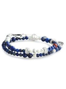 TSUNAIHAIYA (ツナイハイヤ)【Colorfield Beads Bracelet 3 (ラピスミックス) カラーフィールドビーズブレスレット】[正規品](2連/天然石/宝石/シルバー/マグネサイト/ブルー/ホワイト/青/白/銀/925/ギフ