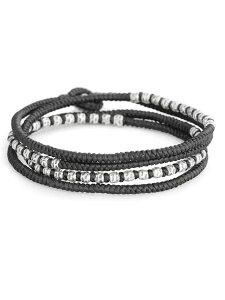 M.Cohen(エム・コーエン)knotted 4 wrap silver thai hammered bead [B-103709-SLV-CHR] ノット 4ラップ シルバータイ ハンマービーズ / ブレスレット ネックレス アンクレット 4連 シルバービーズ チャコールブラ