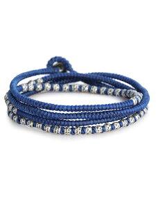 M.Cohen(エム・コーエン)knotted 4 wrap silver thai hammered bead [B-103709-SLV-BLU] ノット 4ラップ シルバータイ ハンマービーズ / ブレスレット ネックレス アンクレット 4連 シルバービーズ ブルーコード