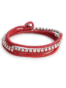【※ポイント5倍※】M.Cohen(エム・コーエン)【knotted 4 wrap silver thai hammered bead [B-103709-SLV-RED] / ノット 4ラップ シルバータイ ハンマービーズ】[正規品](ブレスレット/ネックレス/アンクレット