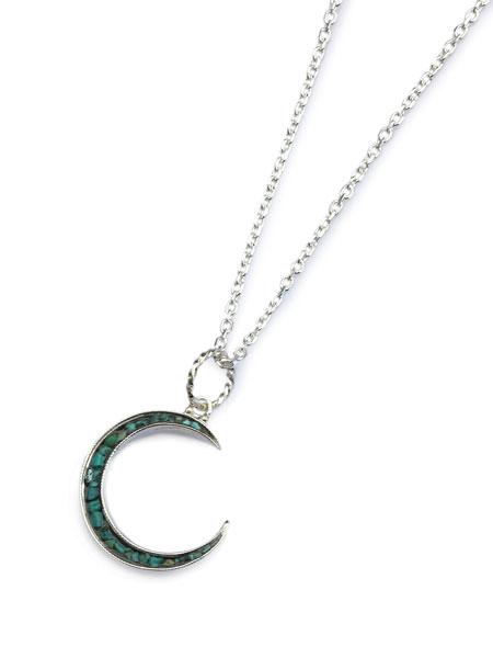 Garden of Eden(ガーデン オブ エデン)Turquoise Crescent Moon Necklace [ED-TS16-NK08] ターコイズ クレセントムーン ネックレス / ペンダント シルバー オーバルチェーン イーグル アニマル トルコ石 天然石 銀 三日月 鳥 鷲 緑 925 メンズ レディース【送料無料】