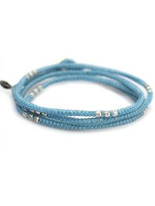 M.Cohen(エム・コーエン)ライト ブルー レイヤー ブレスレット [B-10056-SLV-LBU] / ネックレス アンクレット 4連ラップ スターリングシルバー ブランドロゴチャーム 3WAY 蝋引きコード 銀 水色 空 青