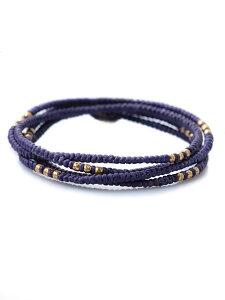 M.Cohen(エム・コーエン)パープル レイヤー ブレスレット (Gold Beads) [B-10056-G-PE] / ゴールドビーズ ネックレス アンクレット 4連ラップ シルバー ブランドロゴチャーム 3WAY 蝋引きコード 銀 金 紫