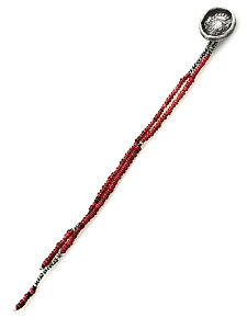 【※ポイント5倍※】M.Cohen(エム・コーエン)アフリカン レッドガラスビーズ ボタンブローチ [BH-103015-SLV-RED] / シルバー 銀 赤 925 スーツ ファッション小物 プレゼント ユニセックス メンズ レ